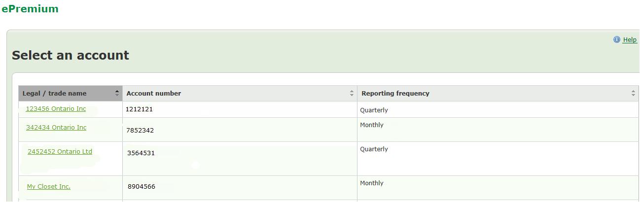 Exemple d'un écran Choisir un compte dans Prime en ligne.  Affiche une liste de comptes à choisir.