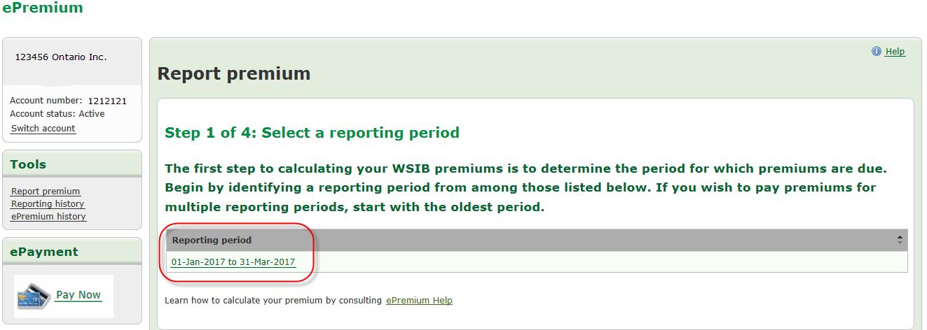 Exemple d'un écran Choisir une période de déclaration dans Prime en ligne. Étape 1 de 4 : La période de déclaration est mise en évidence. Prenez note que s'il y a plus d'un compte, il faut choisir « Passer à un autre compte » pour voir un autre compte.