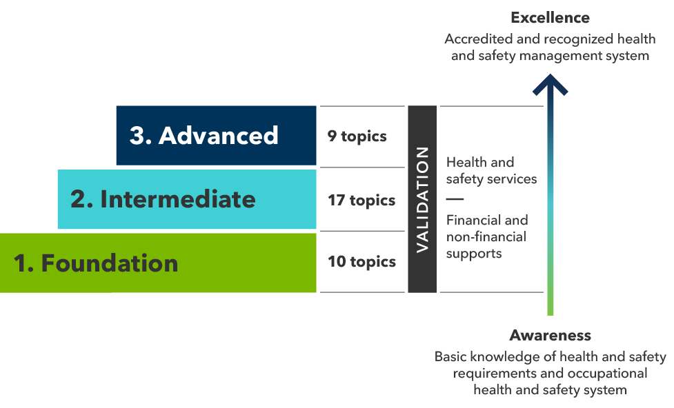 Steps diagram of program levels: 1. Foundation, 2. Intermediate, 3. Advanced. Foundation has 10 topics. Intermediate has 17 topics
