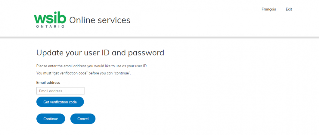 Online service update your user ID image